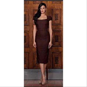 Stop Staring Lindsy Dress Brown Wiggle Rockabilly